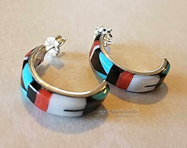 Zuni American Indian Inlaid Silver Earrings