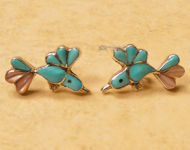 Native American Inlaid Silver post Earrings - Humming Birds