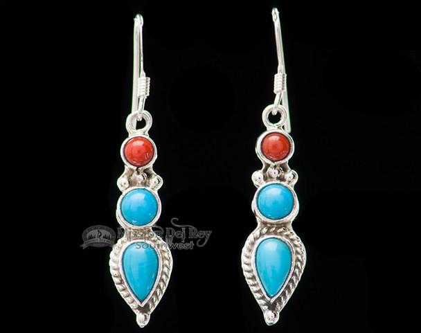 Native American Silver Indian Earrings -Navajo