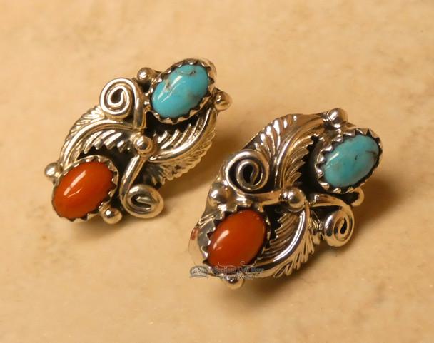 Native American Indian Silver Earrings - Navajo
