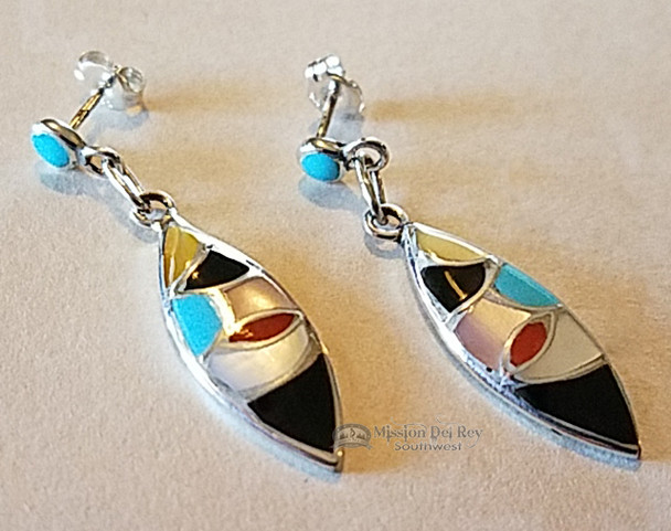 Native American Inlaid Silver Earrings