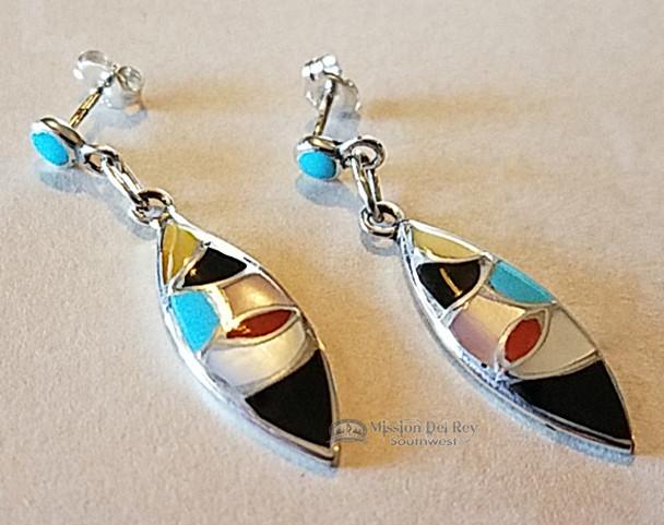 Native American Inlaid Silver Earrings