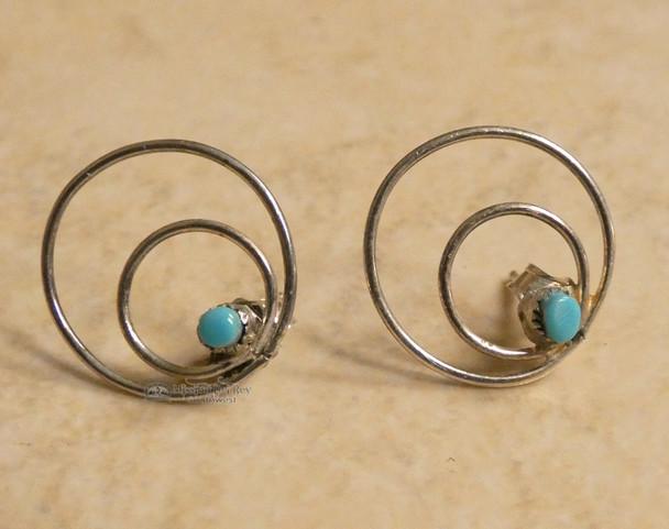 Turquoise Native American Silver Earrings -Zuni