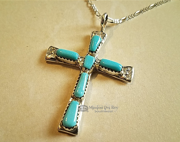 """Zuni Indian Silver Cross Necklace 20"""""""