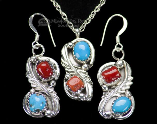 "Navajo Silver Necklace & Earrings 18"""