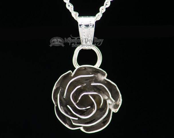 "Silver Rose Pendant Necklace 20"" -Navajo"