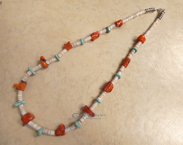 """Native American Jewelry Hand Beaded Necklace 22"""""""