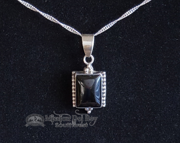 Southwest Style Sterling Silver Pendant -Black Lapis
