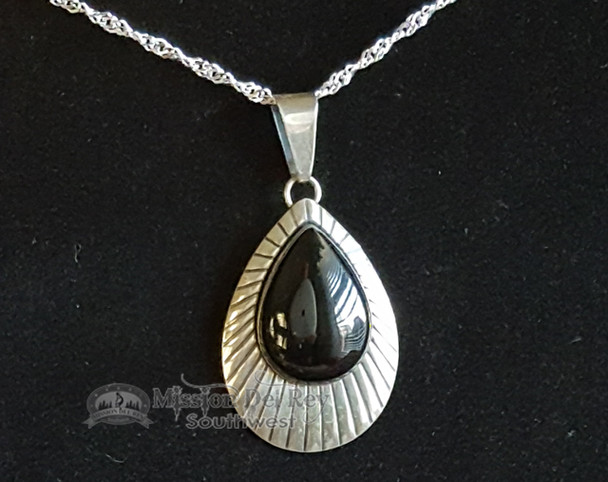 Southwest Style Sterling Silver Pendant Necklace -Tear Drop 2""