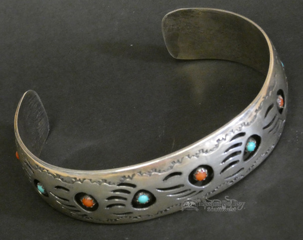 Southwest Silver & Turquoise Bear Paw Cuff Bracelet