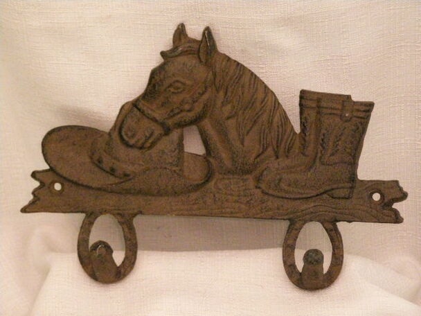 Western Iron Art Hook Rack -Horse