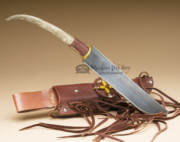 Navajo Decorative Bone Handled Knife and Sheath - Right Hand