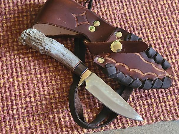 Custom Elk Antler Knife & Sheath