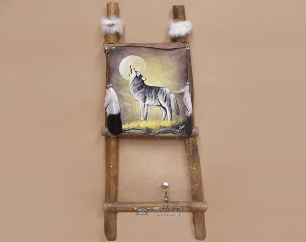 Hand Painted Kiva Ladder - Wolf