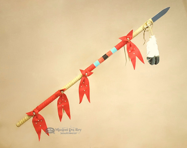 "Old Style Beaded Tigua Indian Lance 54"" -Pueblo"