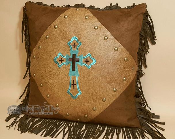 Southwestern Designer Turquoise Cross Pillow