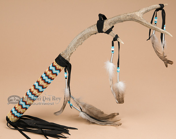 Native American Beaded Antler Medicine Stick 18""