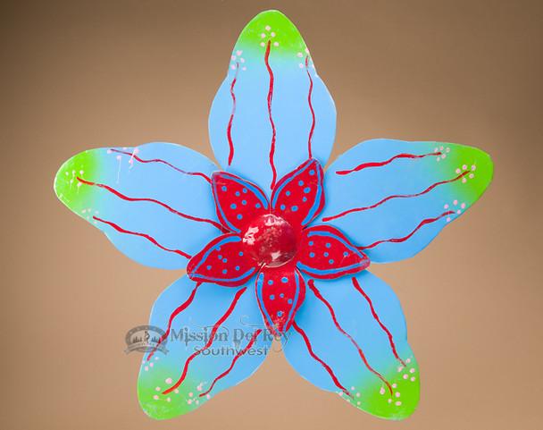 """Rustic Metal Yard Art 23"""" -Blue Flower"""
