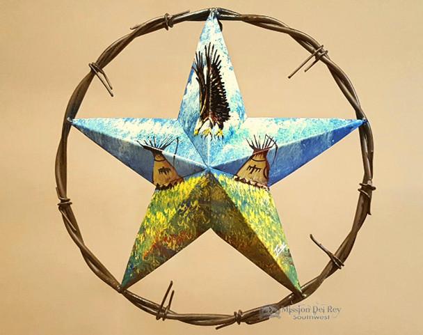 "Rustic Southwestern Metal Wall Star 12"" -Indian Village"
