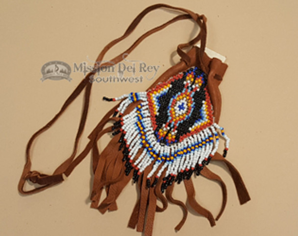 Deer Skin Beaded Medicine Bag 3.5""