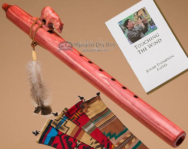 Native American Jonah Thompson cherry finish flute with bear fetish.