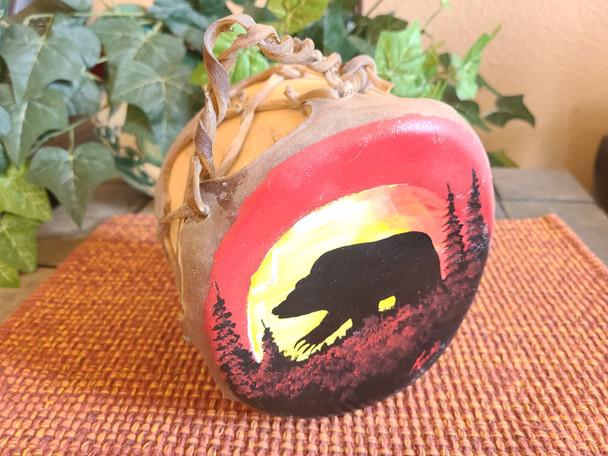 Native American Tarahumara Indian Painted Drum - Moonlit Bear
