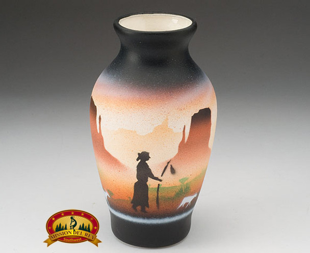 "Native American Navajo Pottery Vase 6"" -Monuments (v626)"