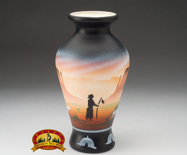 "Native American Navajo Pottery Vase 9"" -Monuments (v209)"