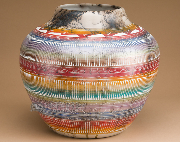 Large Rainbow Horse Hair Vase