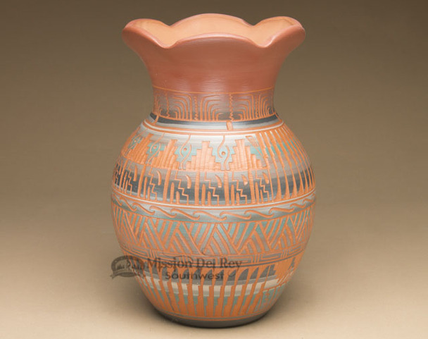 Etched Flower Top Navajo Pottery Vase
