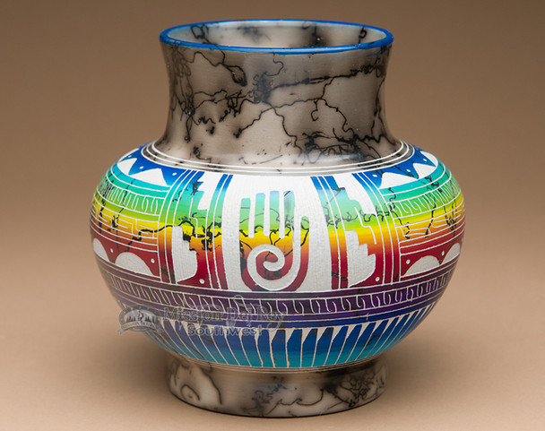 Horse Hair Rainbow Etched Pottery Vase- Healing Hand