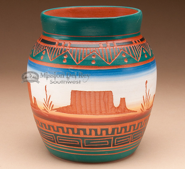 "Indian Pottery Etched Clay Vase 5"" - Navajo (p205)"