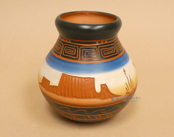 """Indian Pottery Etched Clay Vase 5"""""""