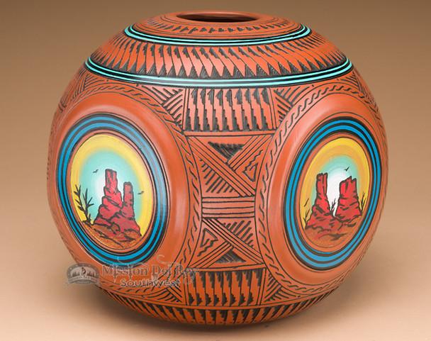 Rounded Square Navajo Pottery Vase