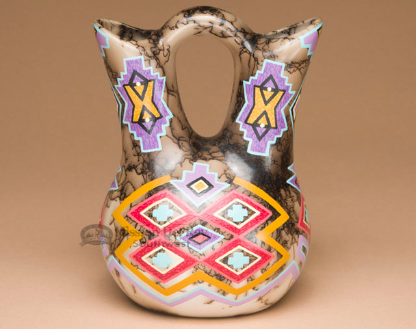 Horse Hair Hand Painted Wedding Vase -Hopi