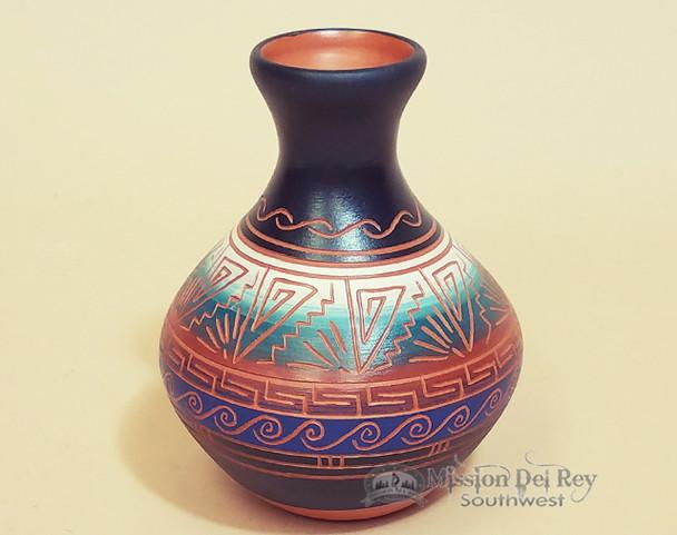 Etched Navajo Pottery Vase