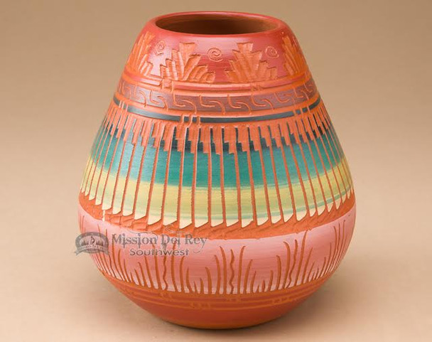 Hand Etched Navajo Pottery Vase