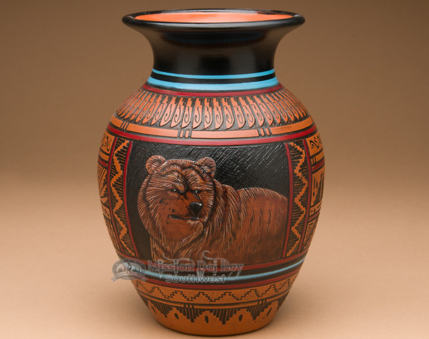 """Navajo Indian Pottery Etched Clay Vase 8.25"""" -Bear (p341)"""