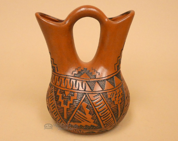 Etched Indian Pottery Wedding Vase