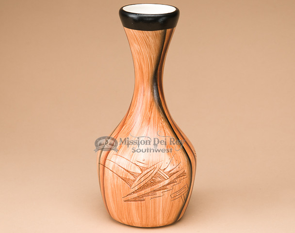 "Navajo Painted & Etched Vase 8"" -Wood Grain (nap352)"