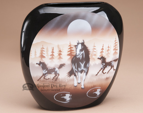 Native American pillow vase - horses.
