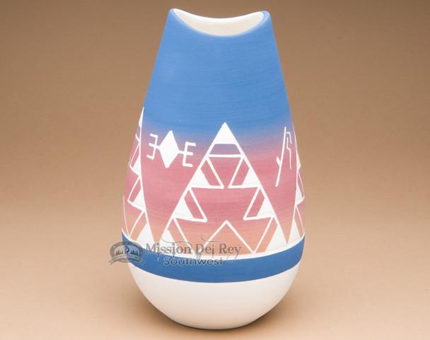 "Indian Etched Bullet Vase 10"" -Lakota Sioux (p612)"
