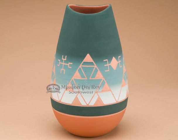 Matte Finish Etched Bullet Vase -Green