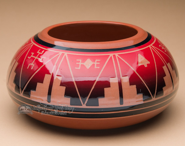 "Sioux Indian Planter Vase 9""x4.25"" -Lakota Red Glazed (p627)"