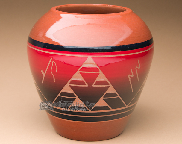 "Sioux Indian Harvest Vase 7.25"" -Lakota Red Glazed (p628)"