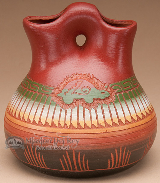 """Indian Pottery Etched Clay Wedding Vase 4.5"""" -Navajo (p315)"""