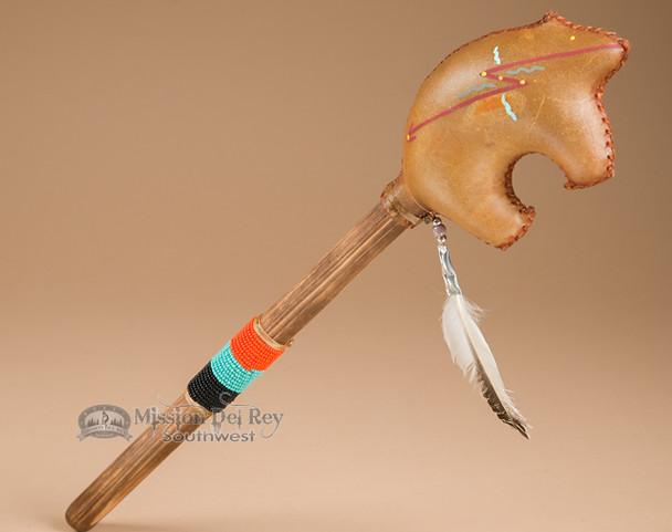 Navajo rawhide rattle - bear shaped.