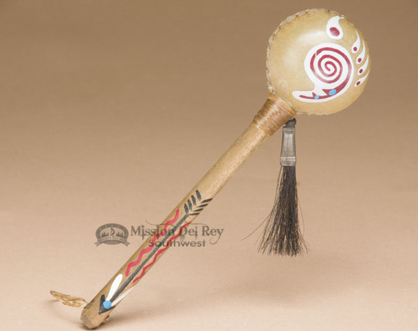 American Indian Painted Rattle With Bear Paw