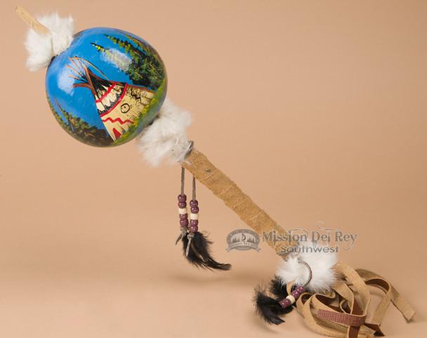 Tarahumara painted gourd rattle - Teepee.