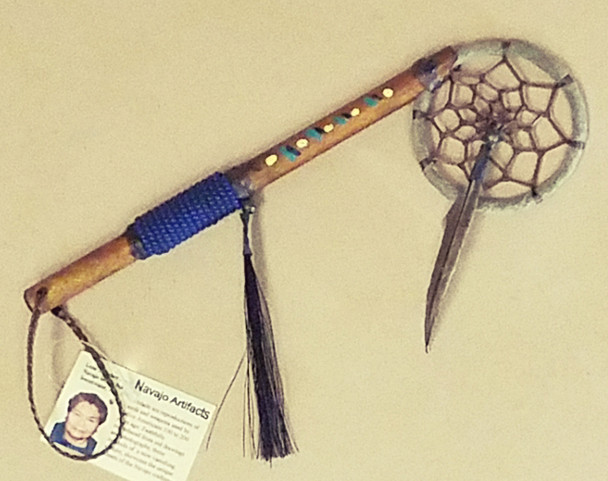 Native American Dream Catcher Spirit Stick - Royal Blue